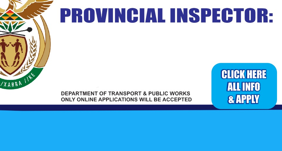 Provincial Inspector: Traffic - Vredendal (4 positions available),